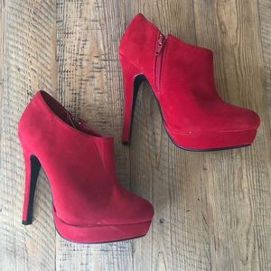 Just Fabulous Red Stiletto Platform Booties